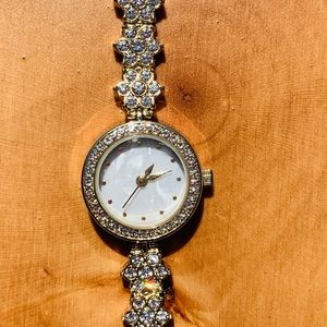 Floral Band Watch with Pearl Face